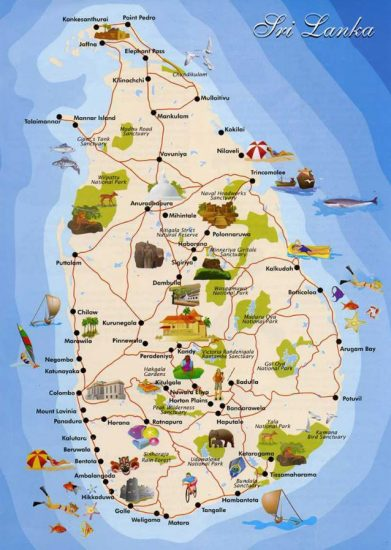 スリランカ観光地図